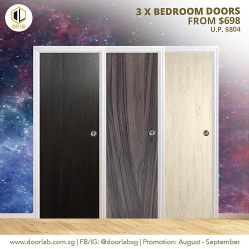 Package of 3- Laminate Solid Bedroom Doors