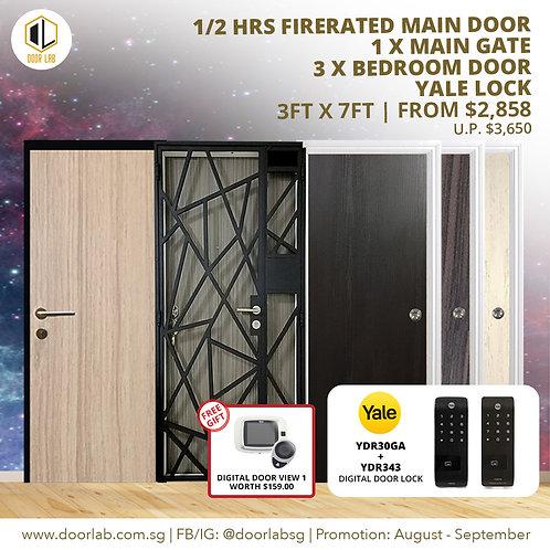 Laminate Fire Rated Main Door +Main Gate +03 x Bedroom Doors +YaleYDR30GA/YDR343