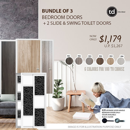 Bundle of 3 Melamine Semi Hollow Bedroom Doors + Bundle of 2 Slide & Swing Doors