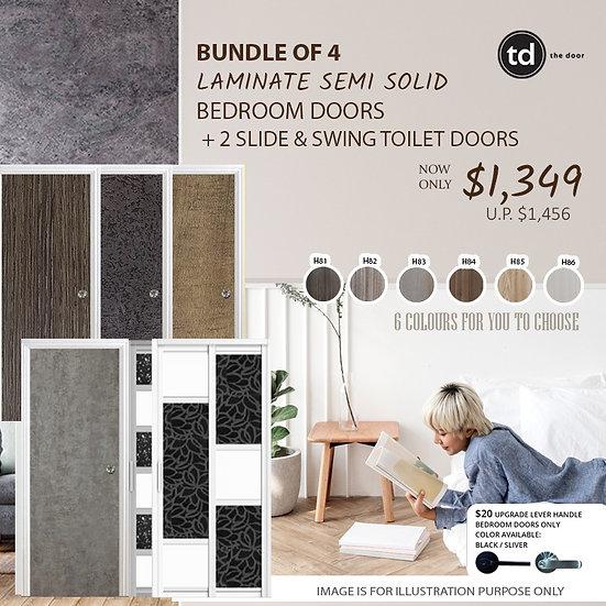 Bundle of 4 Melamine Semi Hollow Bedroom Doors + Bundle of 2 Slide & Swing Doors