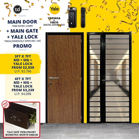 Laminate Fire Rated Main Door+ Main Gate + Yale YDR50GA/ Yale YMI70