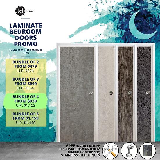Bundle of 4 Solid Laminate Bedroom Door