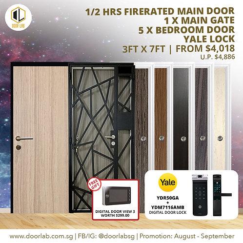 Laminate Fire Rated Main Door +Main Gate +05 x Bedroom Doors +YaleYDR50GA/7116A