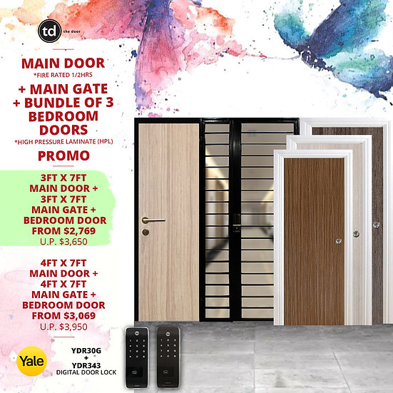 Laminate Fire Rated Main Door/ Main Gate + 3 Bedroom Doors + Yale YDR30G/YDR343
