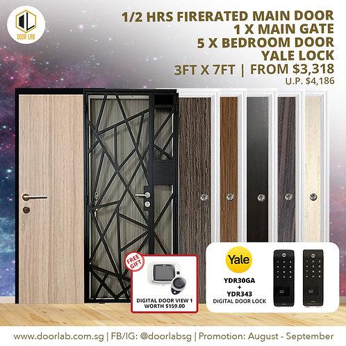 Laminate Fire Rated Main Door +Main Gate +05 x Bedroom Doors +YaleYDR30GA/YDR343