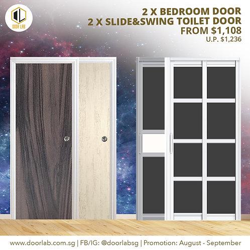 Package of 2  Laminate Bedroom Doors + Package of 2 Slide & Swing Toilet Doors