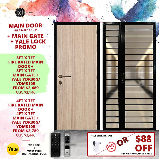 Laminate Fire Rated Main Door + Main Gate + Yale YDR30G/ Yale YDM3109