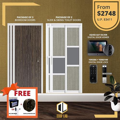 Bedroom Door + Slide & Swing Doors +Yale YDR30G/ YDM3109 + Eques A27 Viewer