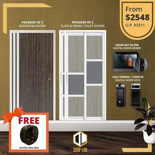 Bedroom Door + Slide & Swing Doors +Yale YDR50G/ YDR4110+ Eques A27 Silver