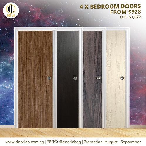 Package of 4- Laminate Solid Bedroom Doors