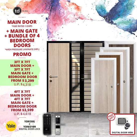 Laminate Fire Rated Main Door/ Main Gate +  4 Bedroom Doors + Yale YDR30/YDM3109