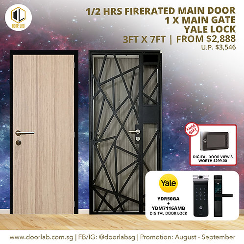 Laminate Fire Rated Main Door + Mild Steel Main Gate + Yale YDR50GA/ YDM7116A MB