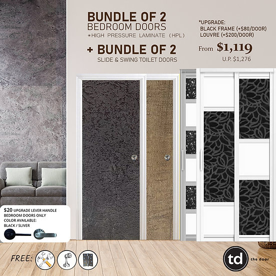 Bundle of 2 Laminate Bedroom Doors + Bundle of 2 Slide & Swing Toilet Doors