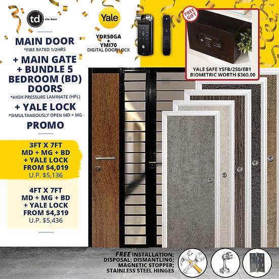 Laminate Fire Rated Main Door/ Main Gate+ 5 Bedroom Doors+ Yale YDR50GA/YMI70