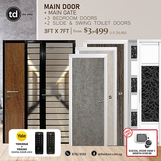 Laminate Fire Rated Main Door+ Main Gate+ 3 Bed / 2 Slide+ Yale YDR30GA/YDR343