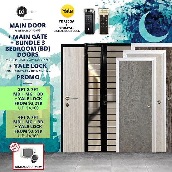 Laminate Fire Rated Main Door/ Main Gate+ 3 Bedroom Doors+ Yale YDR50GA/ YDD424+