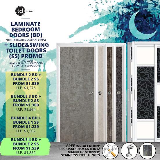 Bundle of 4 Laminate Bedroom Doors + Bundle of 2 Slide & Swing Toilet Doors