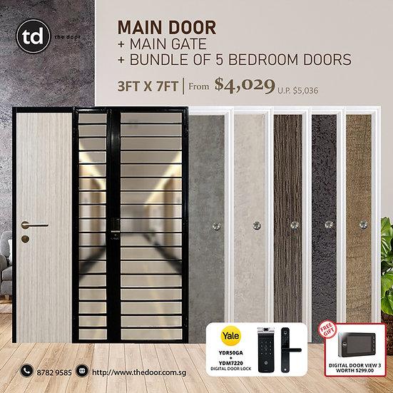 Laminate Fire Rated Main Door/ Main Gate+ 5 Bedroom Doors+ Yale YDR50GA/YDM7220