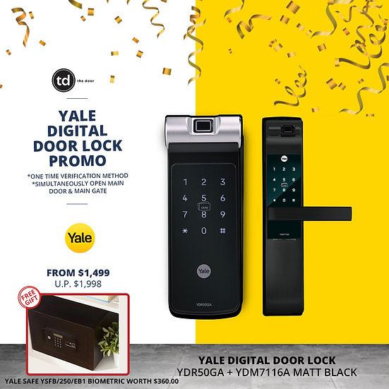 Yale YDR50GA + YDM7116A Matt Black Digital Door Lock Bundle Deal