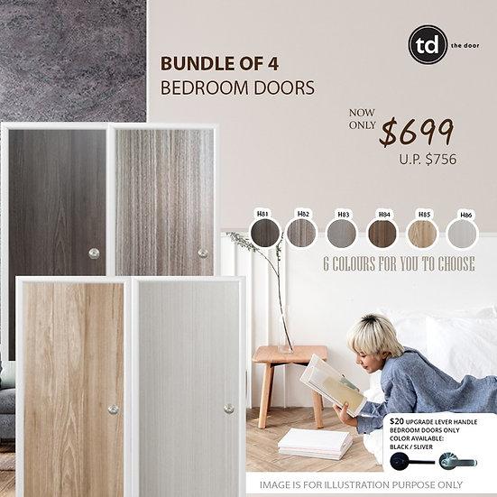 Bundle of 4 Melamine Semi Hollow Bedroom Doors