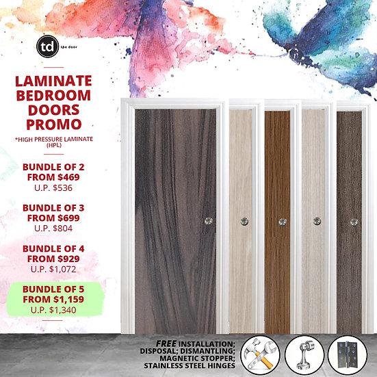 Bundle of 5 Solid Laminate Bedroom Door