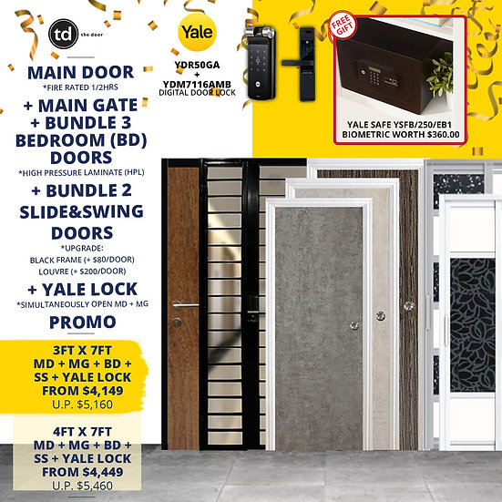 Laminate Fire Rated Main Door+ Main Gate+ 3 Bed / 2 Slide+ Yale YDR50GA/YDM7116A
