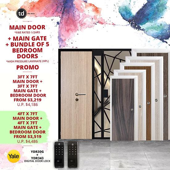Laminate Fire Rated Main Door/ Main Gate +  5 Bedroom Doors + Yale YDR30/YDR343
