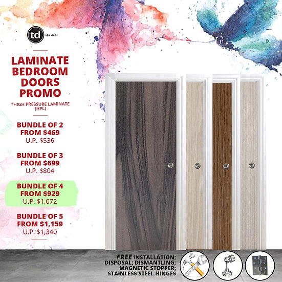 Bundle of 4 Solid Laminate Bedroom Door