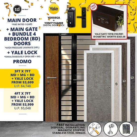 Laminate Fire Rated Main Door/ Main Gate+ 4 Bedroom Doors+ Yale YDR50GA/YDM7116A