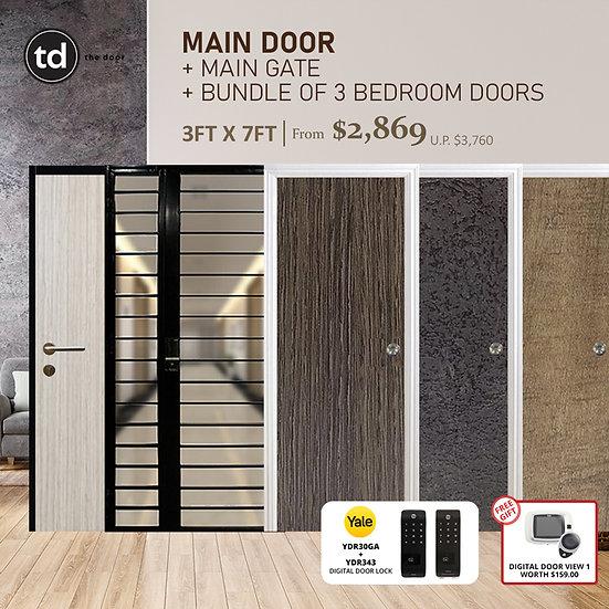 Laminate Fire Rated Main Door/ Main Gate + 3 Bedroom Doors + Yale YDR30GA/YDR343