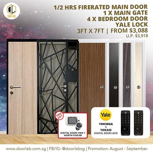Laminate Fire Rated Main Door +Main Gate +04 x Bedroom Doors +YaleYDR30GA/YDR343