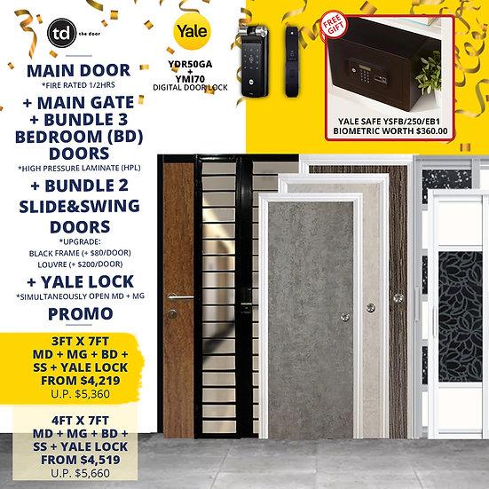 Laminate Fire Rated Main Door+ Main Gate+ 3 Bed / 2 Slide+ Yale YDR50GA/YMI70
