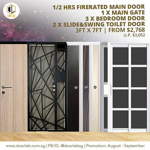 Laminate Fire Rated Main Door +Main Gate +03 x Bedroom Doors +02 x Slide & Swing