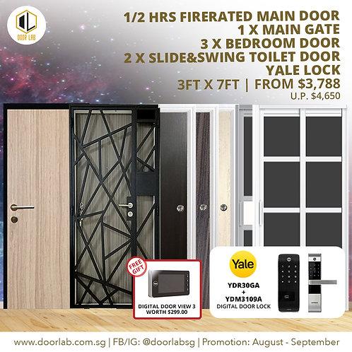 Laminate Fire Rated Main Door +Main Gate +03 Bedroom + 2 x S&S+ Yale YDR30GA/310