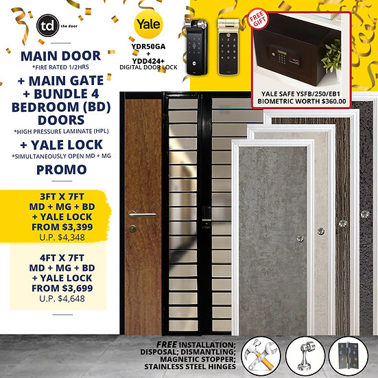 Laminate Fire Rated Main Door/ Main Gate+ 4 Bedroom Doors+ Yale YDR50GA/ YDD424+