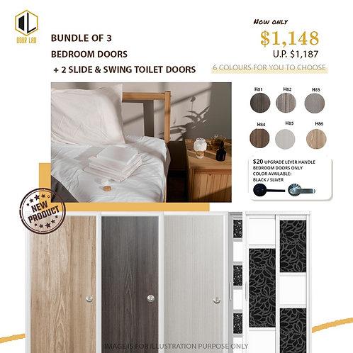 Package of 3- Melamine Semi Hollow Bedroom Doors + Package of 2 Slide & Swing