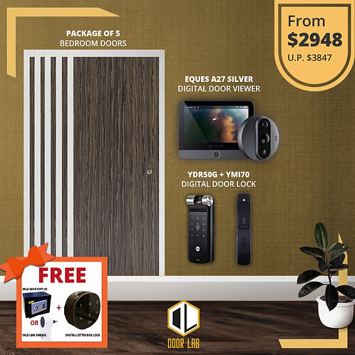 Package of 5- Bedroom Door +Yale YDR50G/ YMI70 + Eques A27 Silver Viewer
