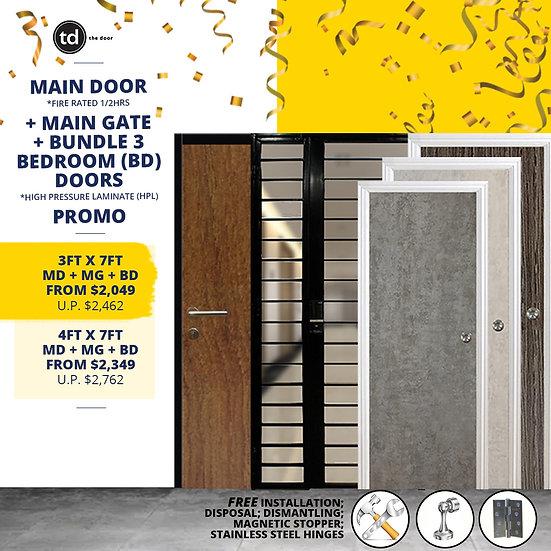 Laminate Fire Rated Main Door + Main Gate + Bundle of 3 Bedroom Doors
