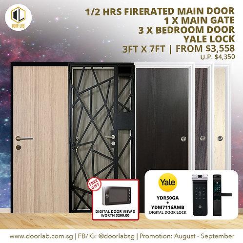 Laminate Fire Rated Main Door +Main Gate +03 x Bedroom Doors +YaleYDR50GA/7116A