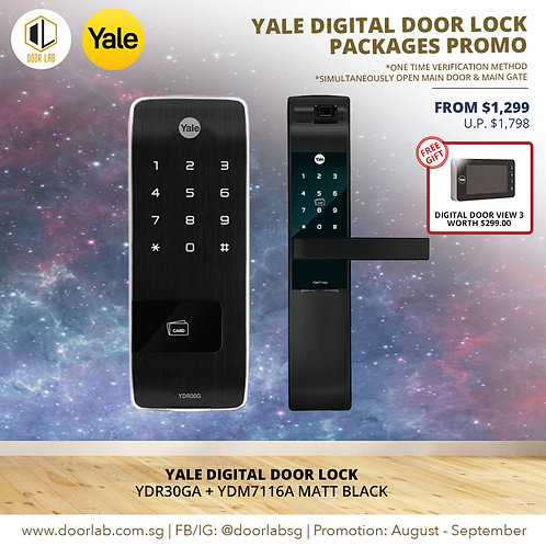 Yale  Digital Door Lock Bundle Deal YDR30GA + YDM7116A MB
