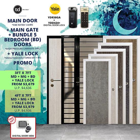 Laminate Fire Rated Main Door/ Main Gate+ 5 Bedroom Doors+ Yale YDR50GA/YDD424+