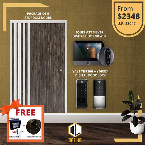 Package of 5- Bedroom Door +Yale YDR50G/ YDR4110 + Eques A27 Silver Viewer
