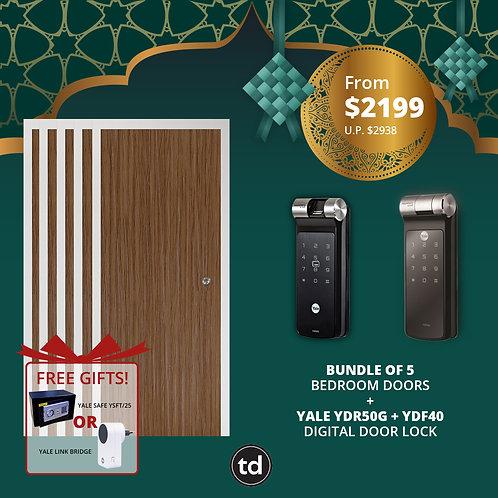 Bundle of 5 Laminate Bedroom Doors + Yale YDR50G/ YDF40