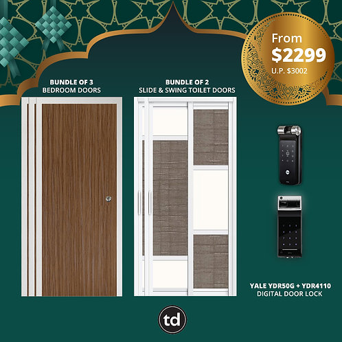Laminate Bedroom Doors + Slide & Swing Toilet + Yale YDR50G/ YDR4110