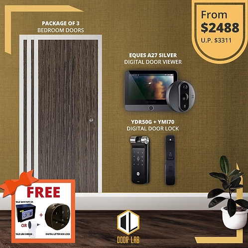 Package of 3- Bedroom Door +Yale YDR50G/ YMI70 + Eques A27 Silver Viewer