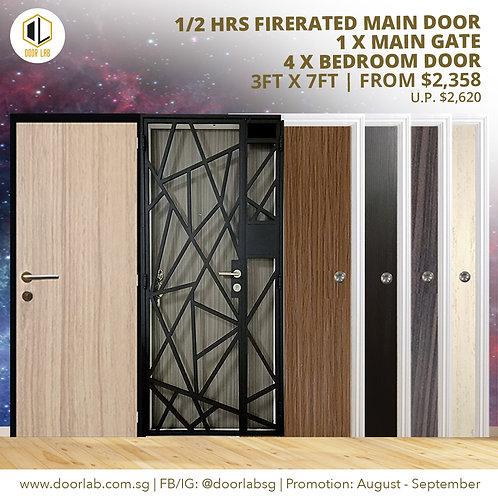 Laminate Fire Rated Main Door +Main Gate +04 x Laminate Bedroom Doors