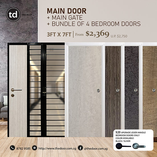 Laminate Fire Rated Main Door + Main Gate + Bundle of 4 Bedroom Doors