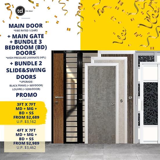 Laminate Fire Rated Main Door + Main Gate + 3 Bedroom / 2 Slide & Swing