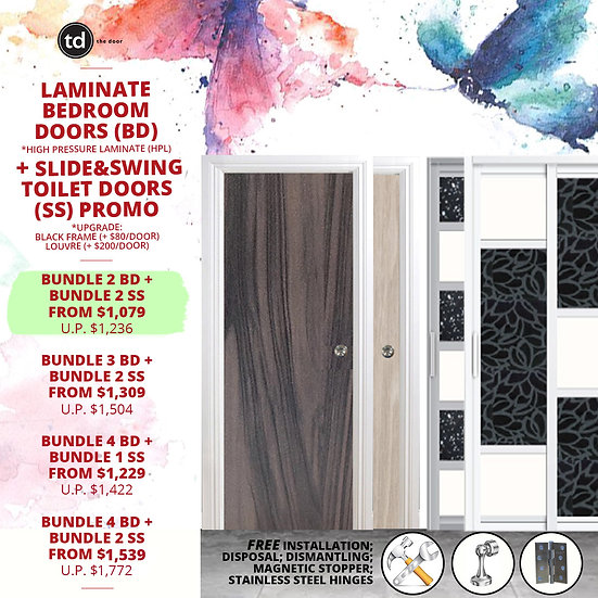 Bundle of 2 Laminate Bedroom Doors + Bundle of 2 Slide & Swing Toilet Doors