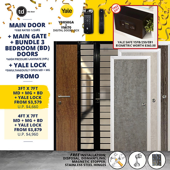 Laminate Fire Rated Main Door/ Main Gate+ 3 Bedroom Doors+ Yale YDR50/YMI70